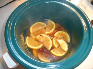 Orange mix in the crock-pot.